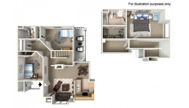 Castle Peak Floor Plan - 3 bedrooms and 2 bathrooms