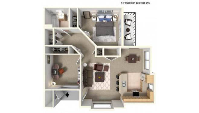 Crestone Floor Plan - 2 bedrooms and 1 bathroom