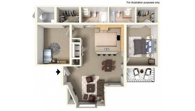 LindseyFloor Plan - 2 bedrooms and 2 bathrooms