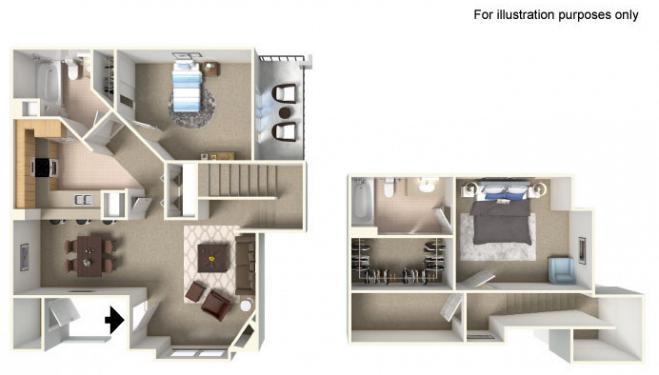 Pikes Peak Floor Plan - 2 bedrooms and 2 bathrooms