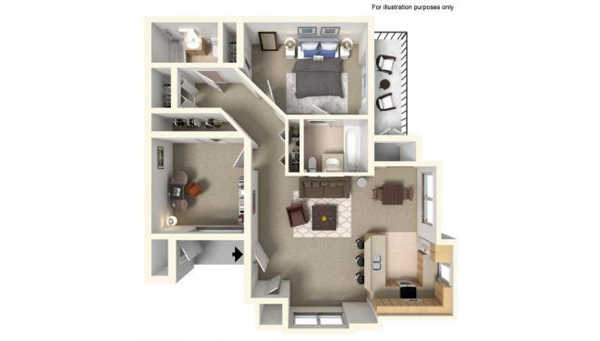 Sunlight Floor Plan - 2 bedrooms and 2 bathrooms