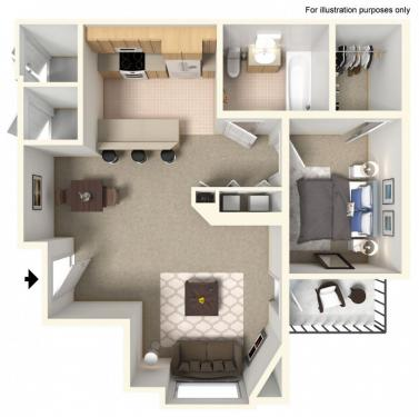 Windom 1 Bedroom 1 Bathroom Floor Plan Heights By